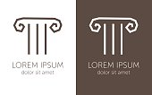 Greek column sign ancient capital emblem vector illustration