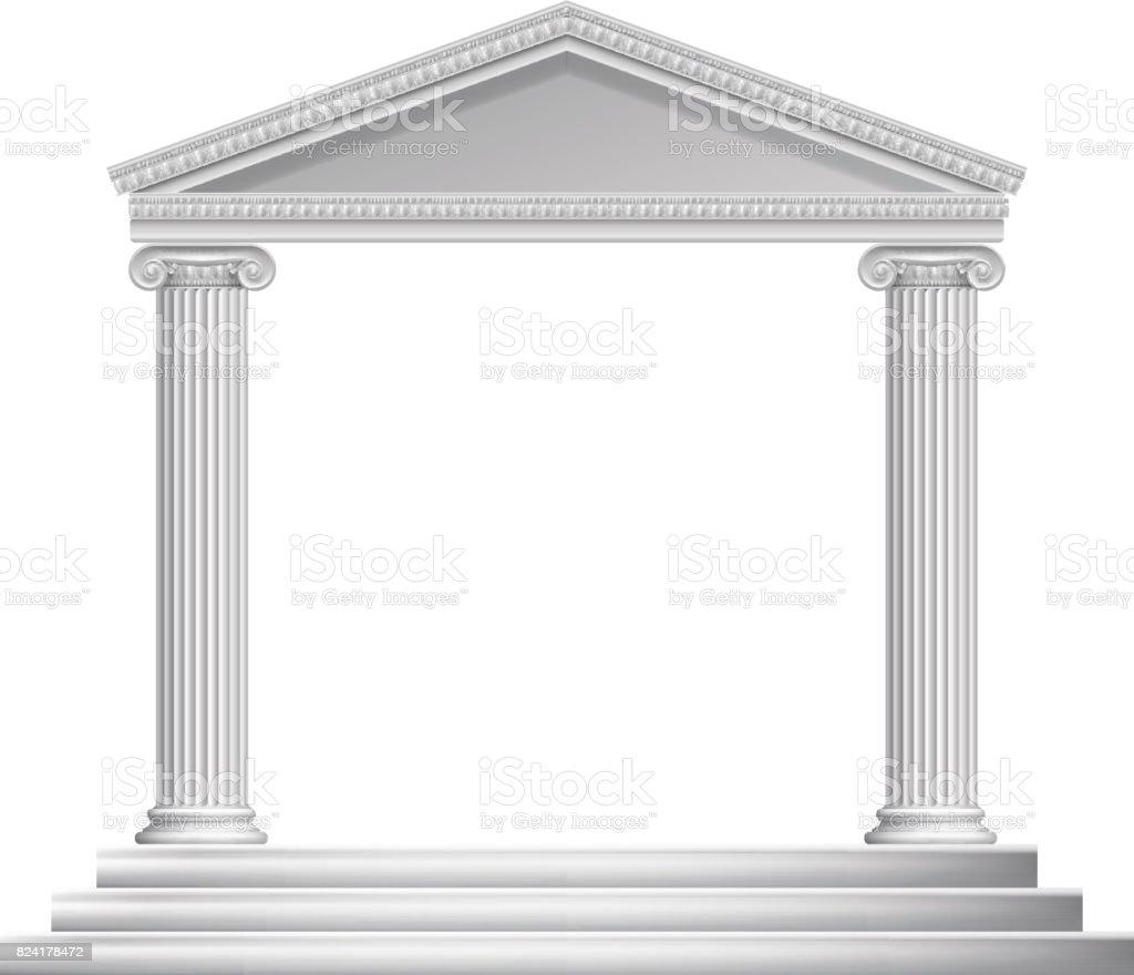 Greek Column Temple vector art illustration