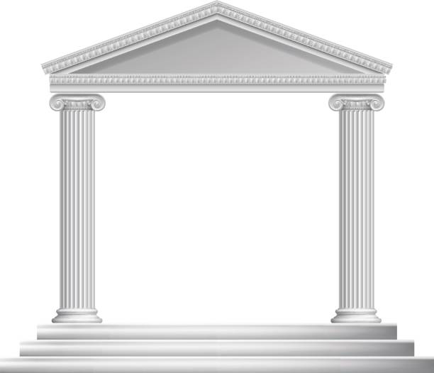Greek Column Temple An ancient Roman or Greek temple with pillars or columns ancient greece stock illustrations