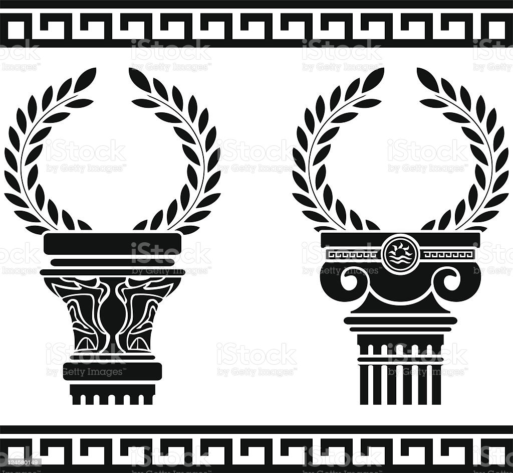 greek columns with wreaths vector art illustration