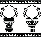 greek columns with wreaths