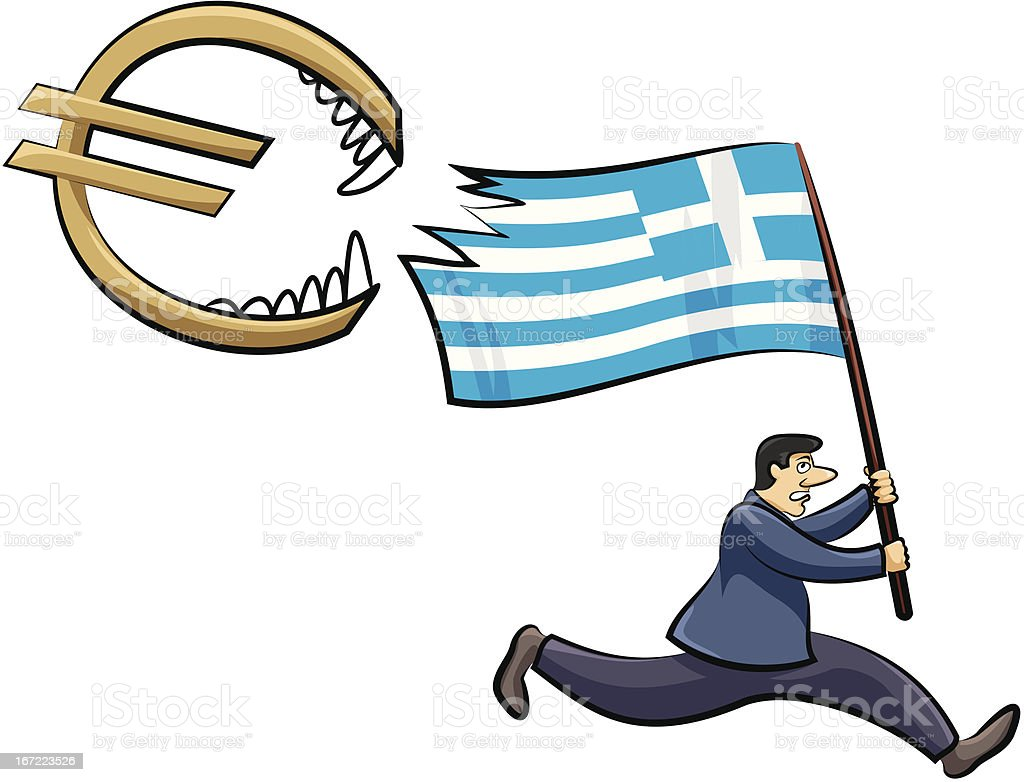 greek crisis - threat to the euro zone royalty-free stock vector art