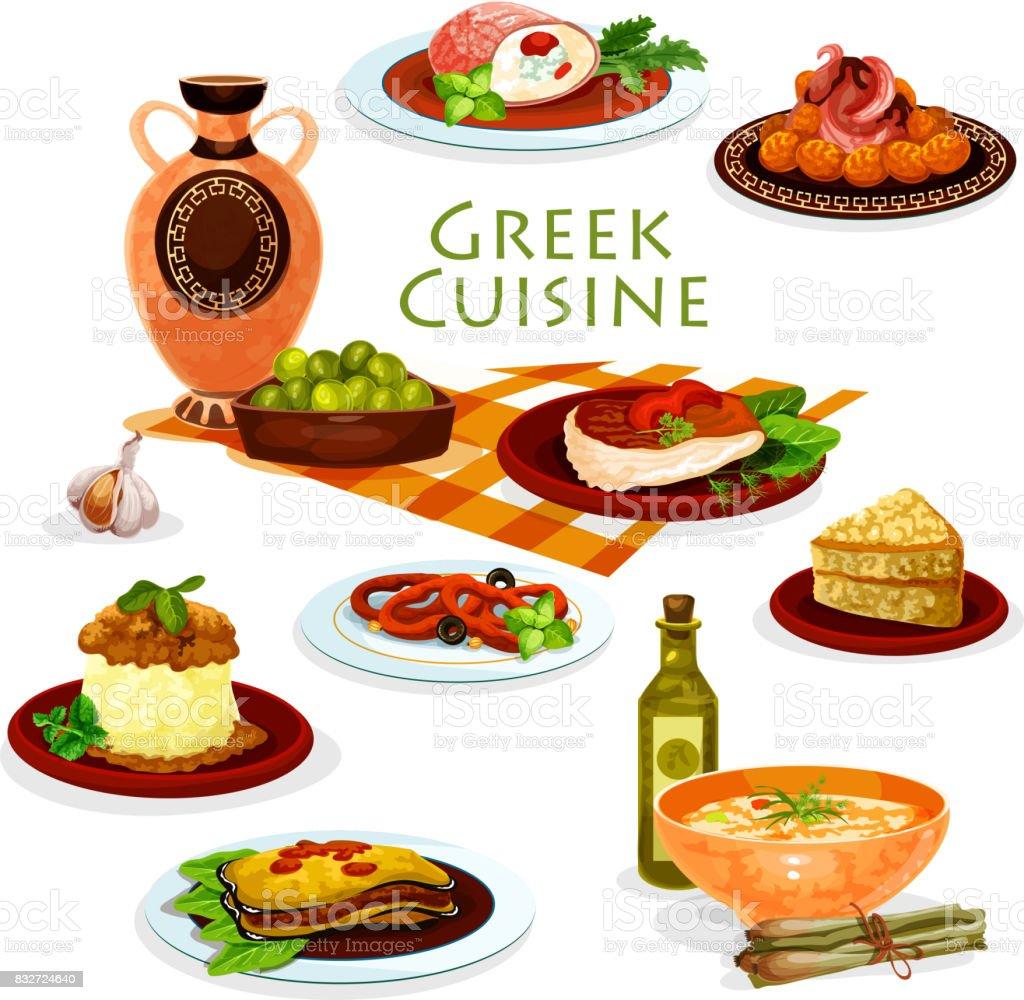 Griechische Küche Gesunde Mittagsgerichte Cartoon Ikone Stock Vektor ...