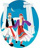 """Dancers from Greece in traditional costume. Please check out other illustration in my """"people-of-the-world"""" series"""
