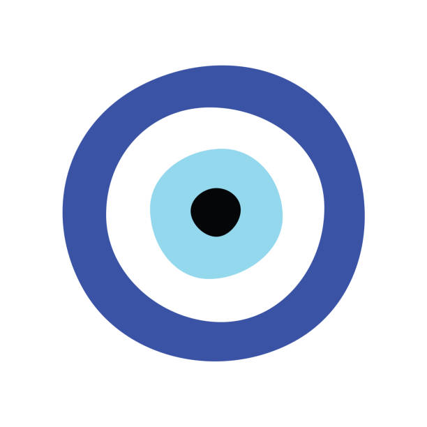 illustrazioni stock, clip art, cartoni animati e icone di tendenza di vettore del malocchio greco - simbolo o icona di protezione - malvagità