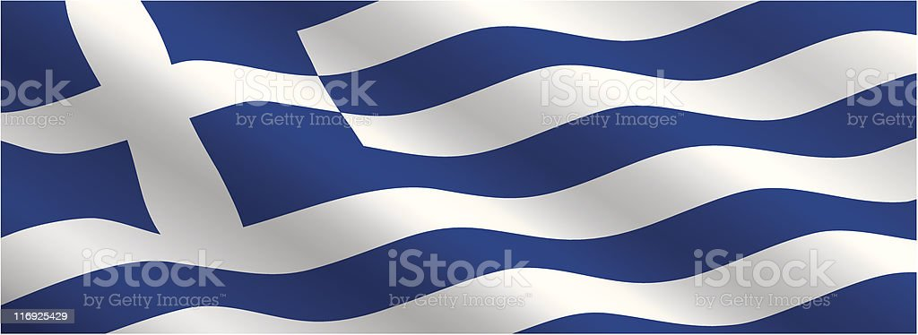 Greek Flag Flowing in the Wind royalty-free stock vector art