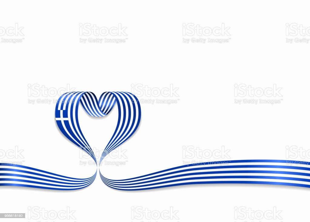 greek flag heartshaped ribbon vector illustration stock vector art