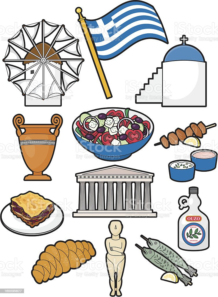 Greek Food and Culture royalty-free stock vector art