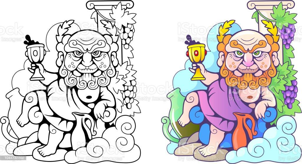 Ilustración de Dios Griego Dionysus Ilustración Divertida Libro Para ...