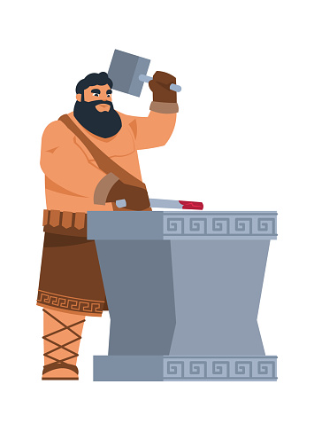 Greek god Hephaestus. Cartoon mythological character of ancient legends. Patron of blacksmiths. Strong man with hammer forges iron. Member of pantheon of deity. Vector antique religion
