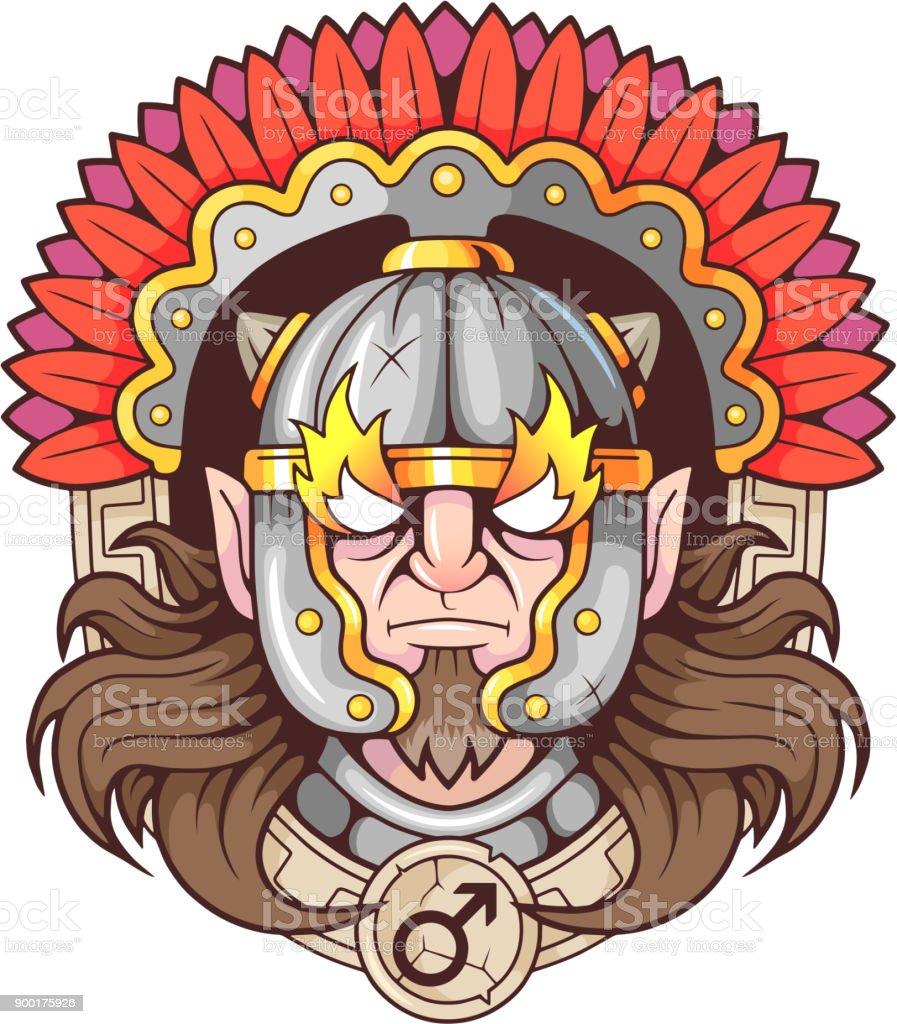 Greek god of war Ares vector art illustration