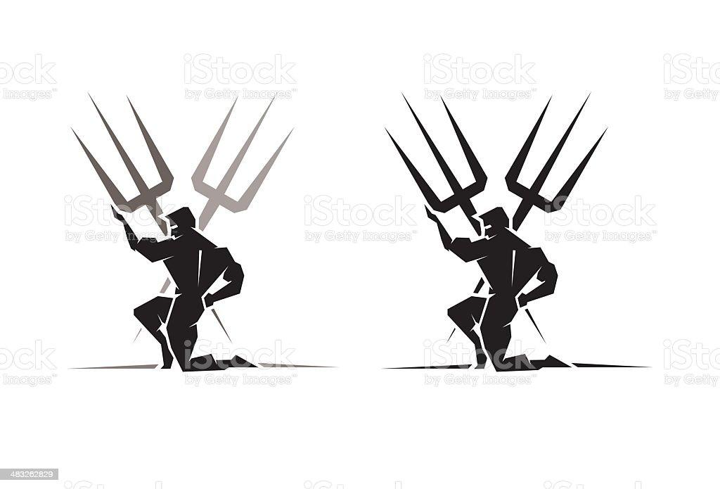 Greek God Poseidon vector art illustration