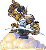 Greek God Robot Forging Lighting Bolt on a Cloud