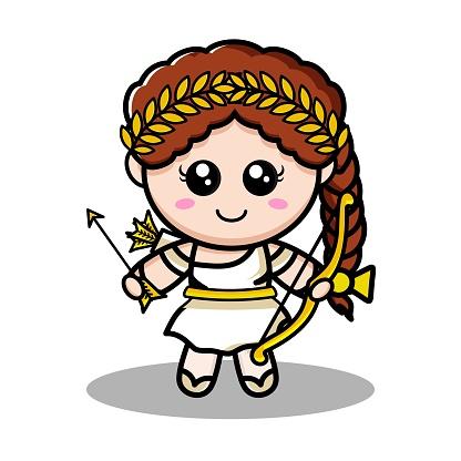 Greek goddess Artemis holding his arrow
