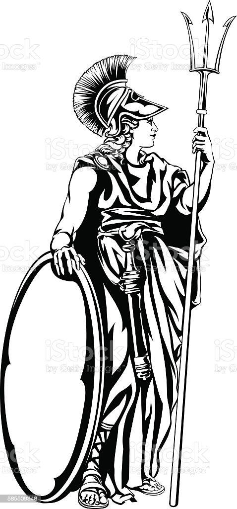 Greek Goddess Athena Warrior vector art illustration