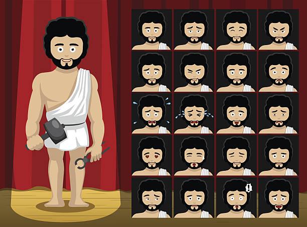 greek gods hephaestus costume cartoon emotion faces vector illustration - smileys zum kopieren stock-grafiken, -clipart, -cartoons und -symbole