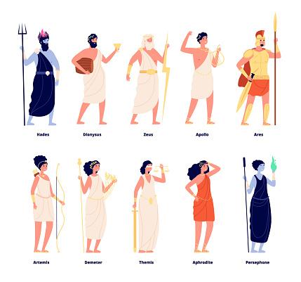 Greek gods. Mythology goddess collection. Cartoon olympians, zeus aphrodite dionysus. Isolated tale stylish characters vector illustration