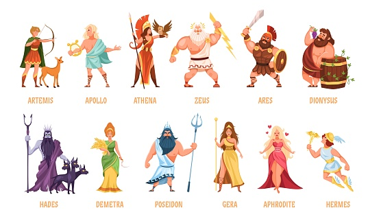 Greek gods pantheon. Mythological olympian gods, ancient Greece religion women and men characters with names, traditional elements personifications. Cartoon flat style vector set