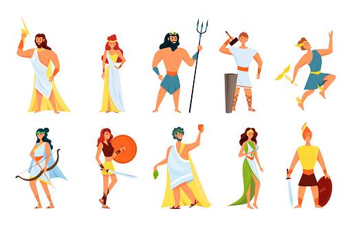 Greek gods. Set Artemis, Poseidon, Aphrodite, Hera, Apollo, Zeus, Athena. Vector illustration. Cartoon character.
