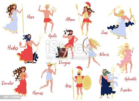 Greek Gods set, Hera, Dionysus, Zeus, Demetra, Hermes, Ares, Artemis, Aphrodite, Poseidon, ancient Greece myths cartoon characters vector Illustration isolated on a white background