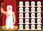 Greek Gods Zeus Costume Cartoon Emotion faces Vector Illustration
