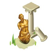 Greek gold statue and ruined column