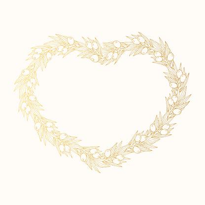 Greek golden olive laurel wreath. Hand drawn invitation gold heart shape frame. Vector isolated illustration.