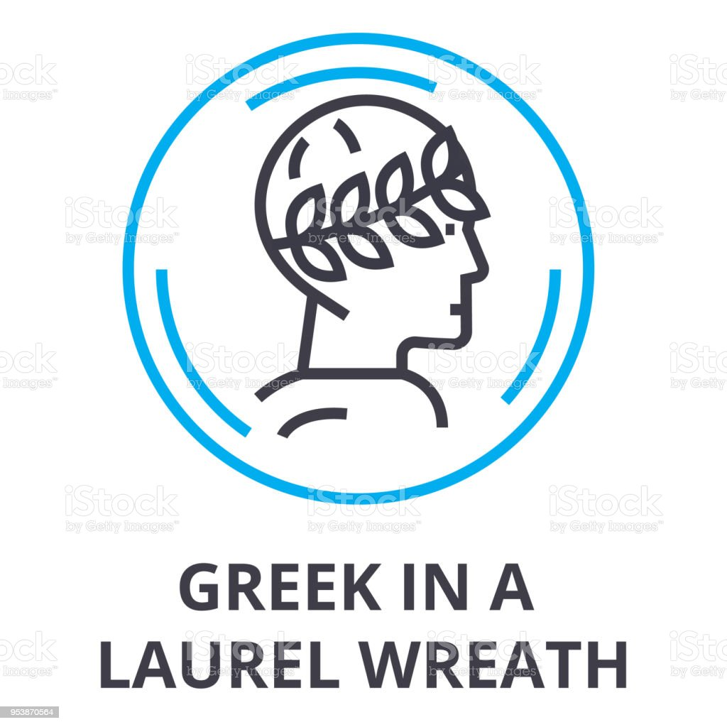 greek in a laurel wreath thin line icon, sign, symbol, illustation, linear concept, vector vector art illustration