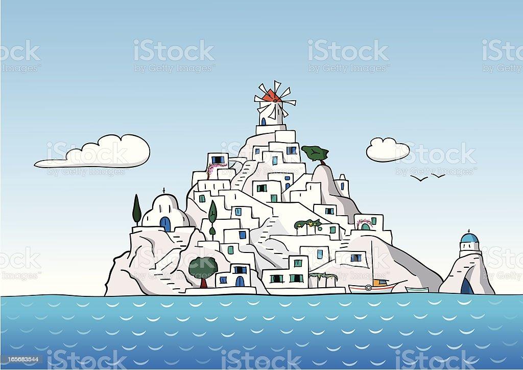 Greek Island royalty-free stock vector art