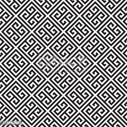 Greek Key / Meander geometric ornamental background. Seamless decorative design in black color.
