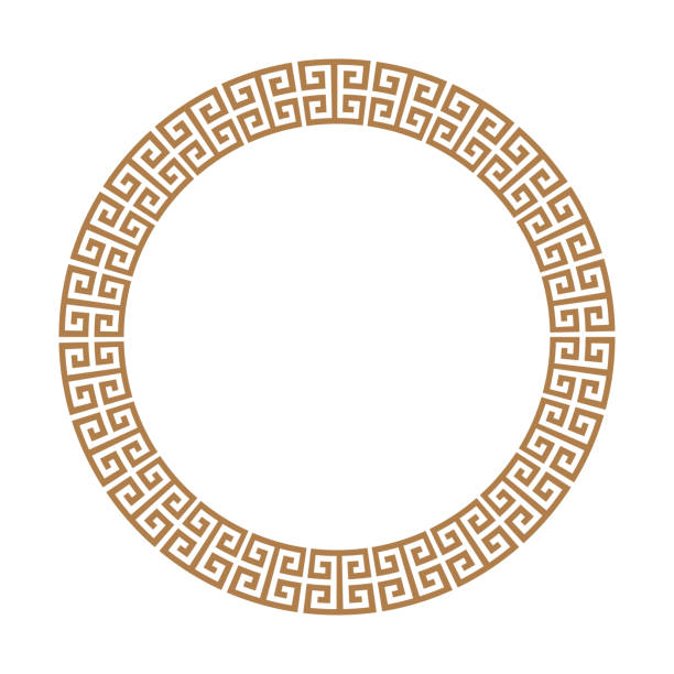 Greek key round frame. Greek border. Vector Greek key round frame. Typical egyptian, assyrian and greek motives circle border. Arabic geometric texture. Islamic Art. Abstract geometric. Vector and illustration. egypt stock illustrations