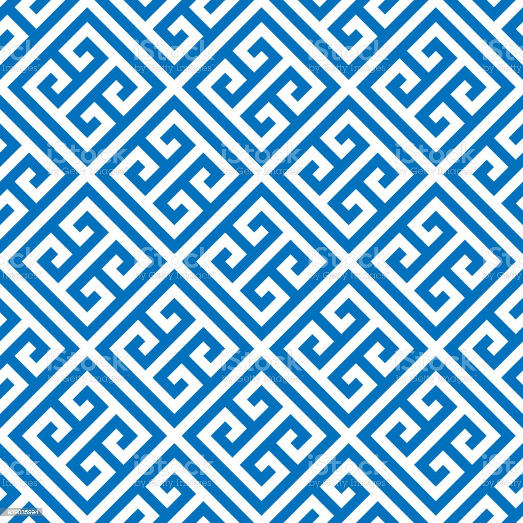 Greek Key Seamless Pattern Background In Blue And White Vintage Retro Abstract Ornamental Design