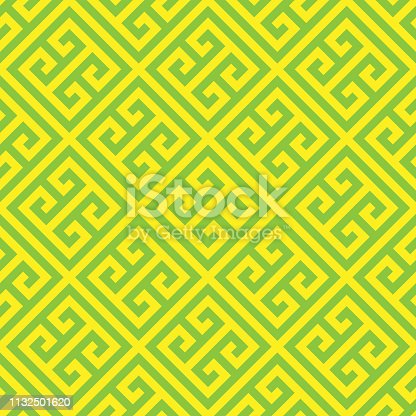 Greek key seamless pattern background in green and yellow. Vintage and retro abstract ornamental design. Simple flat vector illustration.