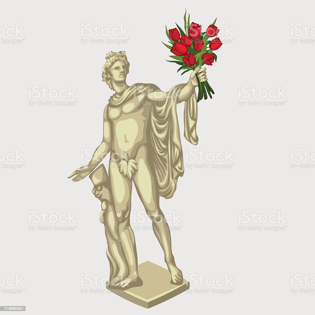 Greek man sculpture with red bouquet of flowers vector art illustration