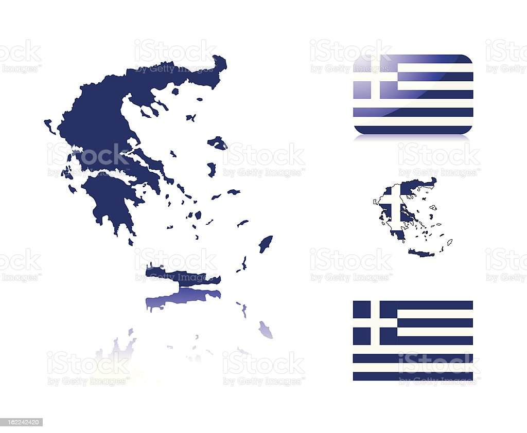 Greek map and flags royalty-free stock vector art