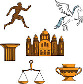 Greek mythology, art and religion icons