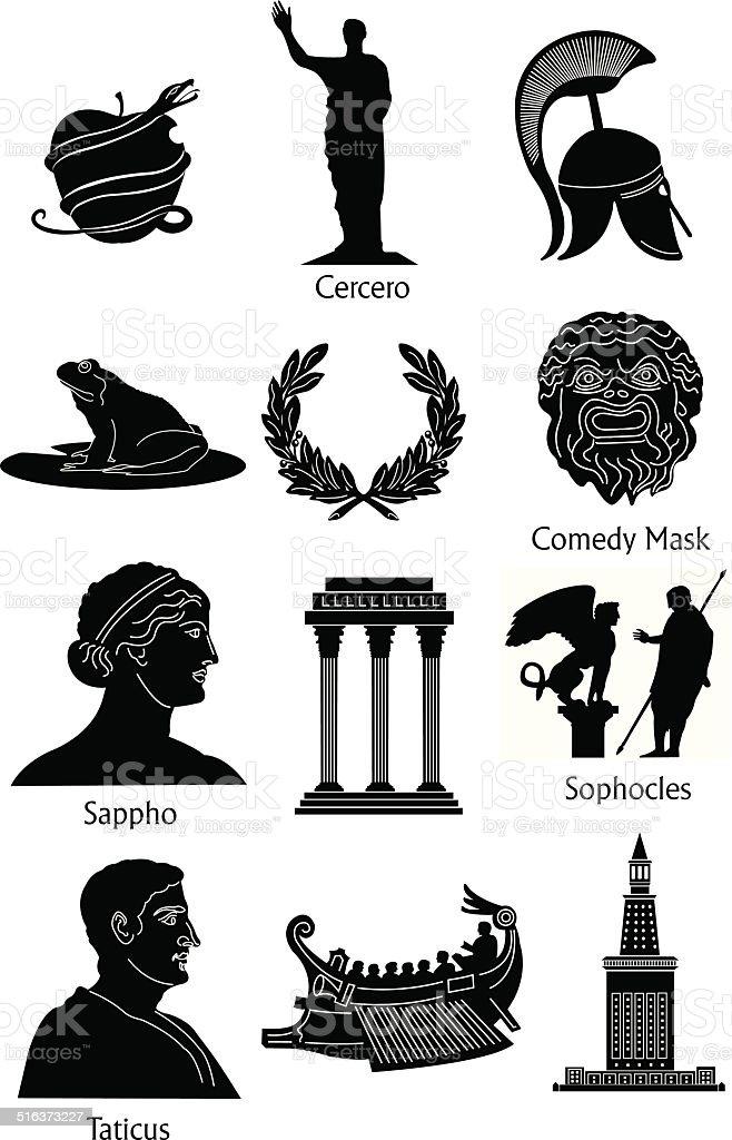 Greek Mythology icons vector art illustration