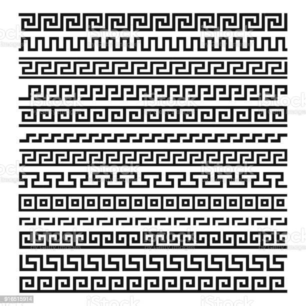 Greek ornament set. Decorative hand drawn boarder in ancient greek design, vintage ornament. Vector flat style cartoon illustration isolated on white background