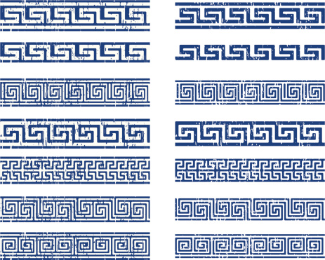 classic greek ornamnet, made with grunge technique, positive and negative. Reppeat by the sides
