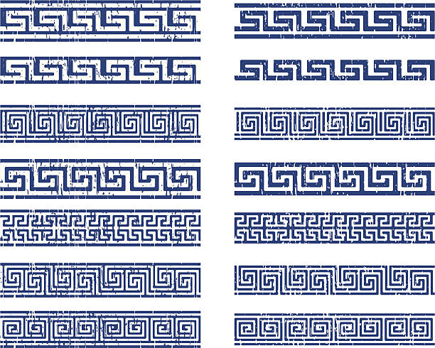 greek ornament classic greek ornamnet, made with grunge technique, positive and negative. Reppeat by the sides classical greek stock illustrations