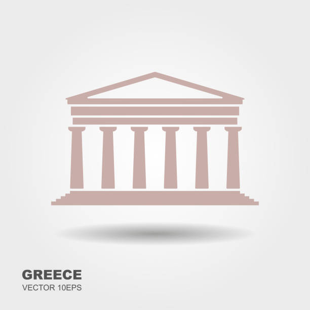 Greek parthenon icon isolated on white background vector art illustration