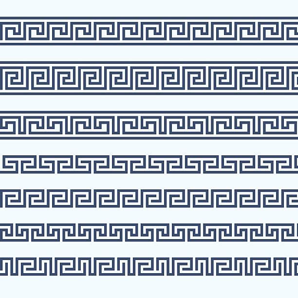 Greek pattern border - grecian ornament Greek pattern border - grecian ornament classical greek stock illustrations