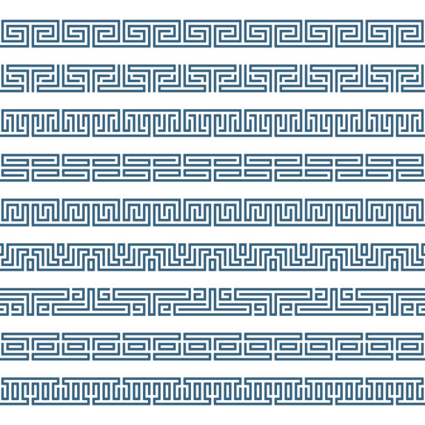 Greek pattern border. Greek seamless pattern border. Set of Old grecian ornaments. Abstract geometric ornament, isolated on white background. Ancient Greek borders collection. Vintage Framework Border. Vector illustration. ancient stock illustrations