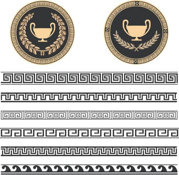 Greek Pattern Two beautiful Greek plates with laurel wrath and various meanders in black and gold color. ancient greece stock illustrations
