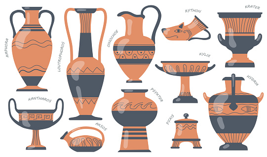Greek pottery jugs set