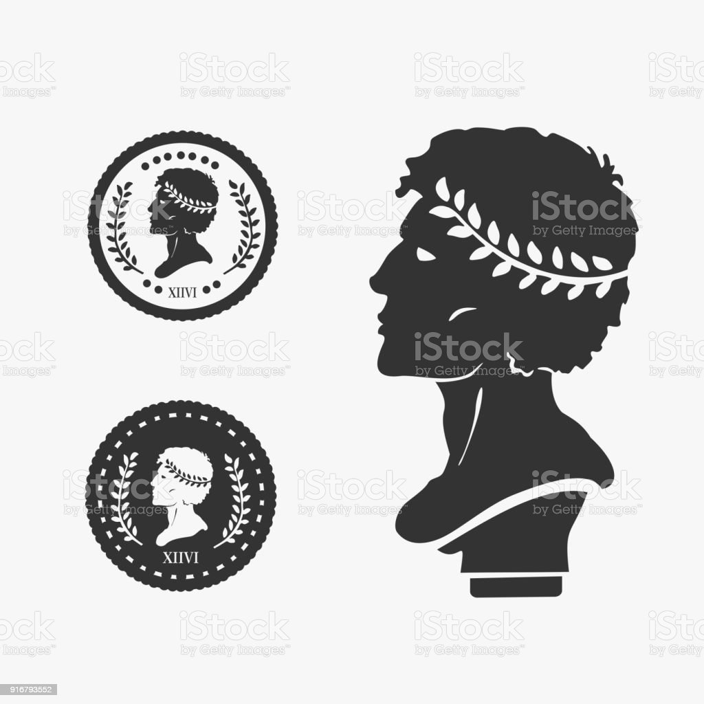 Greek Profile Coin Vector Illustration vector art illustration
