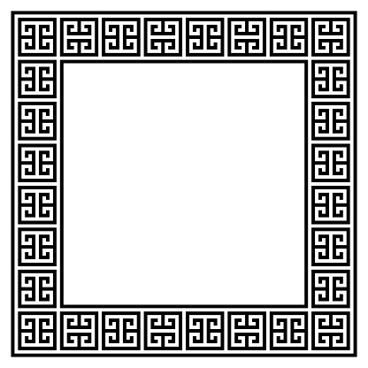 Greek retro frame or border vector design, traditional pattern from ancient Greece