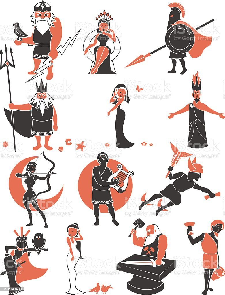 Greek / Roman Gods vector art illustration