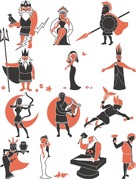 Greek / Roman Gods Set of Greek / Roman gods over white background. artemis stock illustrations