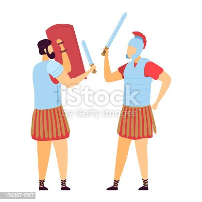 Greek roman male character warrior, ancient soldier attack sword defender with shield, old time fighter isolated on white, flat vector illustration. Historical design champion, martial art.